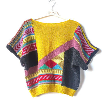 Vintage hand knited jumper,  Women Sweater Vintage 80s , Sweater Fair Isle Knit Geometric  pattern in Black, Red, Yellow, Green, Purple