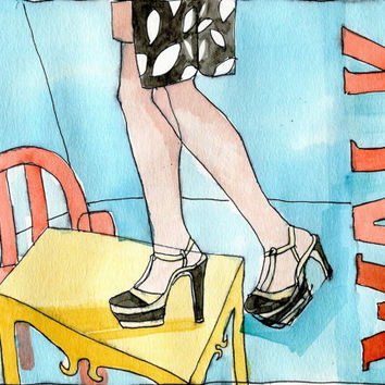 TAKE A WALK 1 - Original Watercolour - Fashion Design - Modern Art - Fashion Painting - Typography