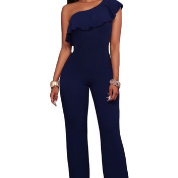 Navy Blue One Shoulder Ruffle Jumpsuit