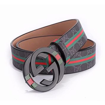 GUCCI Newest Fashion Women Men GG Smooth Buckle Stripe Leather Belt