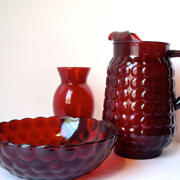 Vintage Anchor Hocking Bubble Ruby Red by jpcountrymarket on Etsy