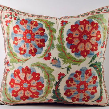 Handmade Suzani Pillow Cover msp12-41, Suzani Pillow, Uzbek Suzani, Suzani Throw, Boho Pillow, Suzani, Decorative pillows, Accent pillows