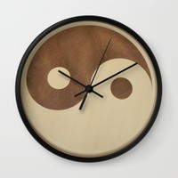 Jin Jang wooden marquetry picture art Wall Clock by Andulino