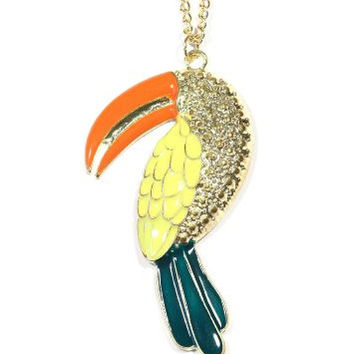 Toucan Necklace Vintage Yellow Tropical Parrot Bird NK26 Gold Tone Indie Pendant Fashion Jewelry