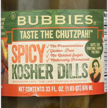 BUBBIES: Pickle Kosher Dill Spicy, 33 oz