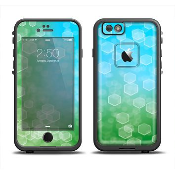 The Abstract Shaped Sparkle Unfocused Blue & Green Skin Set for the Apple iPhone 6 LifeProof Fre Case