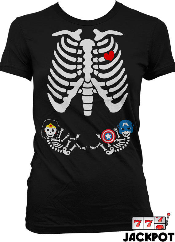 Pregnant skeleton shirt halloween costume from jackpottees all