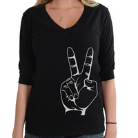 Peace Sign - Football V-Neck Tee