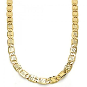 Gold Layered 04.63.1357.24 Basic Necklace, Mariner Design, Diamond Cutting Finish, Golden Tone