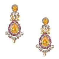 Long Earrings with Citrine Yellow Stones - E Design Earrings - Exclusively In - Designers