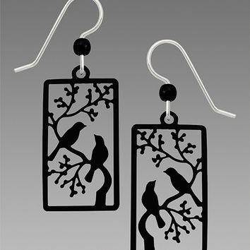 Sienna Sky Earrings - Two Black Birds on a Tree Branch