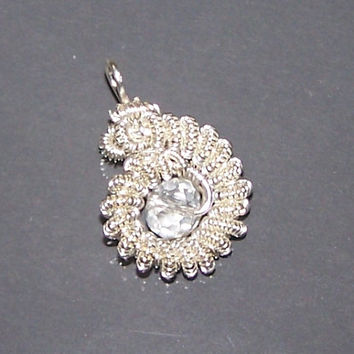 Wire Wrapped Pendant With Crystal Bead And Silver Plated Wire, Bead Setting