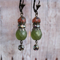 Tara ~ Vintage Sexy Shabby Romantic Earrings - Faceted Pink & Green AB Czech Glass Beads - Aged Silver AB Rhinestones - Maddie Jean Vintage