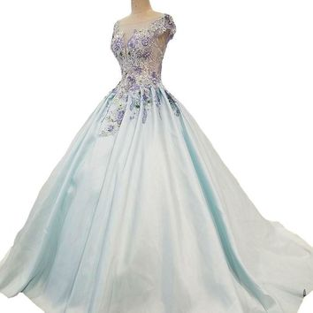 New High-end Evening Dress Light Blue Satin Lace Embroidery Beading Party Gown Banquet Elegant Formal Dresses