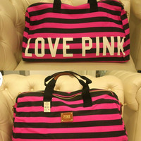 Victoria's Secret Inspired Luggage Bag - Love Pink - Hot Pink/Black Striped