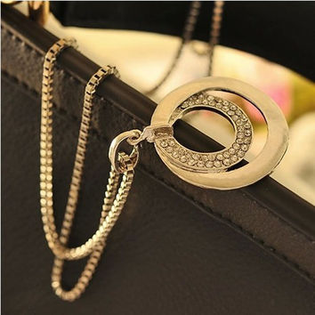 1pc/lot Fashion Lariat Necklace Crystal Silver Rhinestone Circle Pendant Necklace Gold Sliver Color Long Chain Necklace