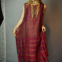 Vintage Indian caftan maxi dress / pinafore style beach coverup / woven tribal repeat print /