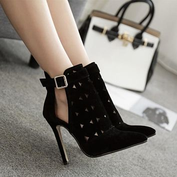 High Heel Pointed Toe Ankle Boots Summer Shoes - Comfortable Shoes + Sandals
