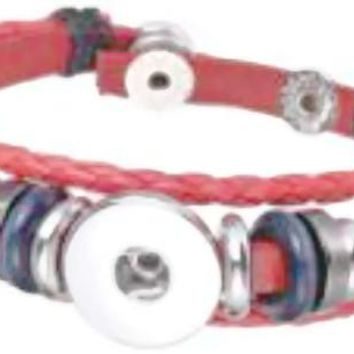 Red With Blue Beads DIY Leather Bracelet Multiple Colors for 18MM - 20MM Snap Jewelry Build Your Own Unique