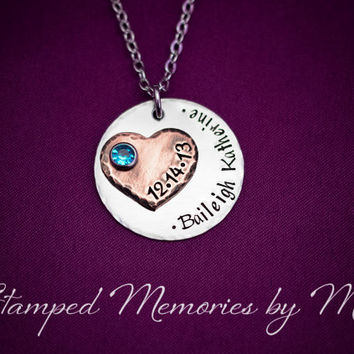 Mommy Necklace - Hand Stamped Stainless Steel with Copper Heart Necklace - Personalized Jewelry - Handstamped Mother Necklace and Birthstone