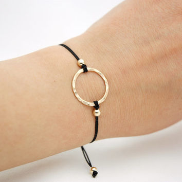 14k Rose or Yellow Gold Filled Hammered Karma Circle Friendship Bracelet - Simple Modern Minimalist Jewelry - Infinity Bracelet, Make A Wish