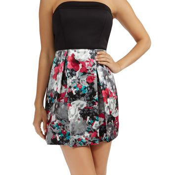Teeze Me | Strapless Tube Top Bow Back Pleated Printed Skirt Party Dress  | Black/Grey