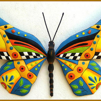 Metal Wall Hanging, Hand Painted Whimsical Butterfly Art Design, Funky Art, Metal Wall Art, Haitian Art, Outdoor Patio Decor - J-902-YL