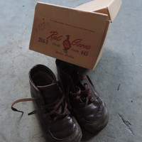 Vintage Red Goose Toddler Shoes including Original Box Friedman Shelby Red Goose Shoes Mid Century Distressed Toddler Shoes Staging Prop