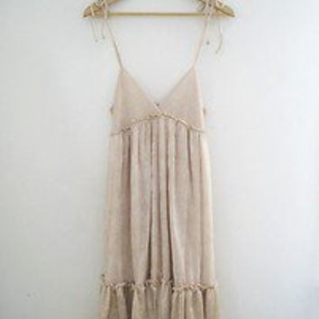 Champagne Colored Ruffles and Lace Maxi Dress with Empire Waist - Size Small