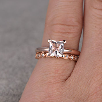 2pcs Morganite Bridal Ring Set,Engagement ring Plain Rose gold,Diamond wedding band,14k,5mm Princess Cut,Gemstone Promise Ring,Art Deco Band