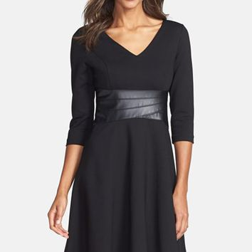 Women's Nue by Shani Faux Leather & Ponte Fit & Flare Dress,