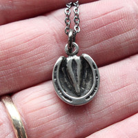 Silver Shod Horse Hoof Necklace in Solid White Bronze with Sterling Overlay