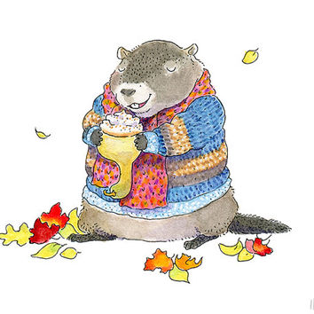 Autumn Woodchuck Art Print - 5x7 - Woodland Animal Illustration, Cute Animal Art, Autumn Art, Fall Art, Nursery Art for Children by Inkpug!