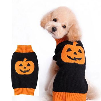1pc Halloween Pet Clothes Pumpkin Knitted Dog Sweaters Warm Autumn&Winter Knintting Sweater Small Medium Large Dog Coat 2041DC