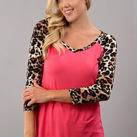 Coral and Leopard 3/4 Sleeve Top