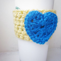 Crochet Cup Cozy The Heart Coffee Cup Sleeve in Butter and Cobalt