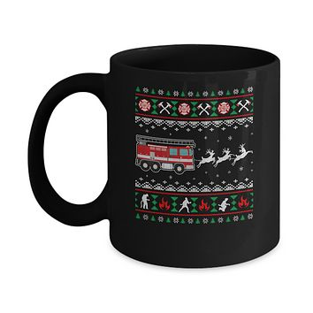 Merry Christmas Firefighter Fireman Ugly Sweater Gift Mug