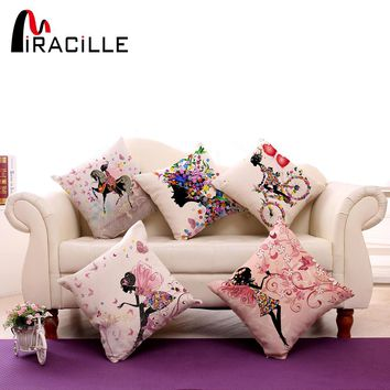 """Square 18""""  Cotton Linen Decorative Cushions Flower Fairy Bike Butterfly Throw Pillows Sofa Home Decor No Inner"""