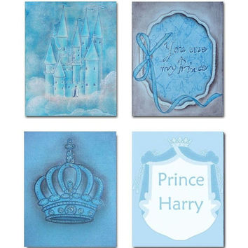 Nursery Decor, Little Prince, SET OF 4 Prints, Baby Boy Nursery, Prince, Custom Name, Baby Blue,  Shabby Nursery
