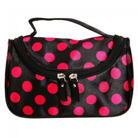 Cute Little Dots Cosmetic Hand Bag with Mirror Black and Red - Default