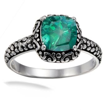 1.50 Carats Sterling Silver Green Topaz Ring (1.50 CT)
