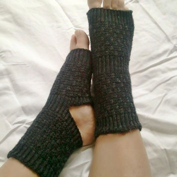 Toeless Yoga Socks Hand Knit in Black Pedicure by MadebyMegShop