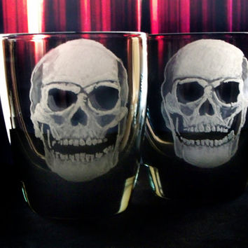 Spooky Skull  - Engraved Glass set , Barware Halloween Tumblers  - Haunted Glassware