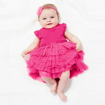 Fashion Pretty Kids Baby Girls Cotton Dress Cake Layered Tutu Princess dresses 0-3Years Girl Casual