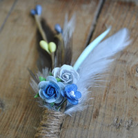 Rustic Boutonniere, Wedding Boutonniere, Blue & Grey Boutonniere, Feather Boutonniere, Grooms Boutonniere, Groomsmen Gift, Wedding Lapel Pin