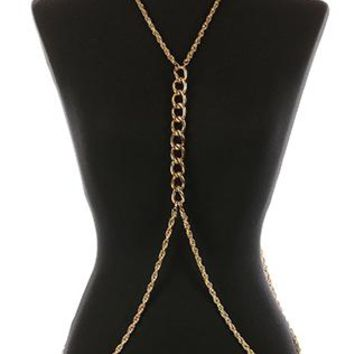 Body Chain Chunky Twisted Metal Necklace And Rope And Curb Chain 20 Inch Long 16 Inch Drop
