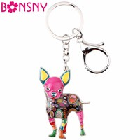 Bonsny Enamel Cute Chihuahuas Dog Key Chain Key Ring Pom Gift For Women Girl Bag Pendant 2017 New Charm Keychain Fashion Jewelry