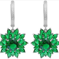 7.76ct Lab Created Green Emerald Dangle Fashion Earrings For Women – With Genuine 925 Sterling Silver