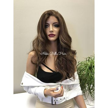 Brown Balayage Wavy Human Hair Blend Deep Parting Lace Front Wig - AJ