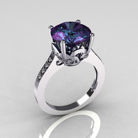 Classic 950 Platinum 3.5 Carat Alexandrite Pave Diamond Solitaire Wedding Ring R301-PLATDAL